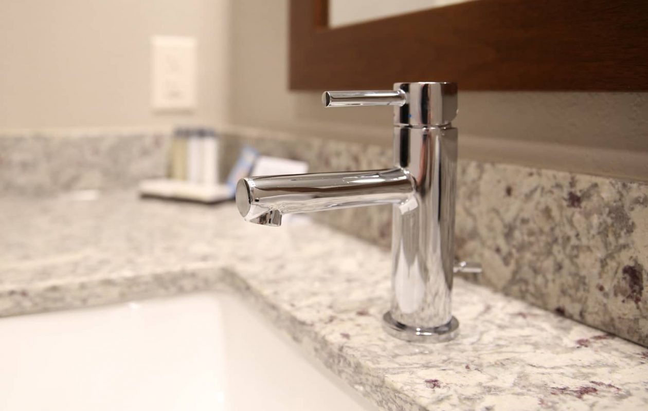Detail of the granite countertop and sink