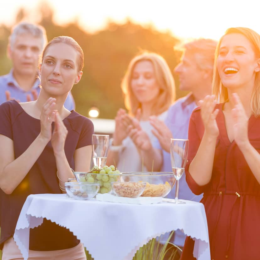 Group of business people at an outdoor event