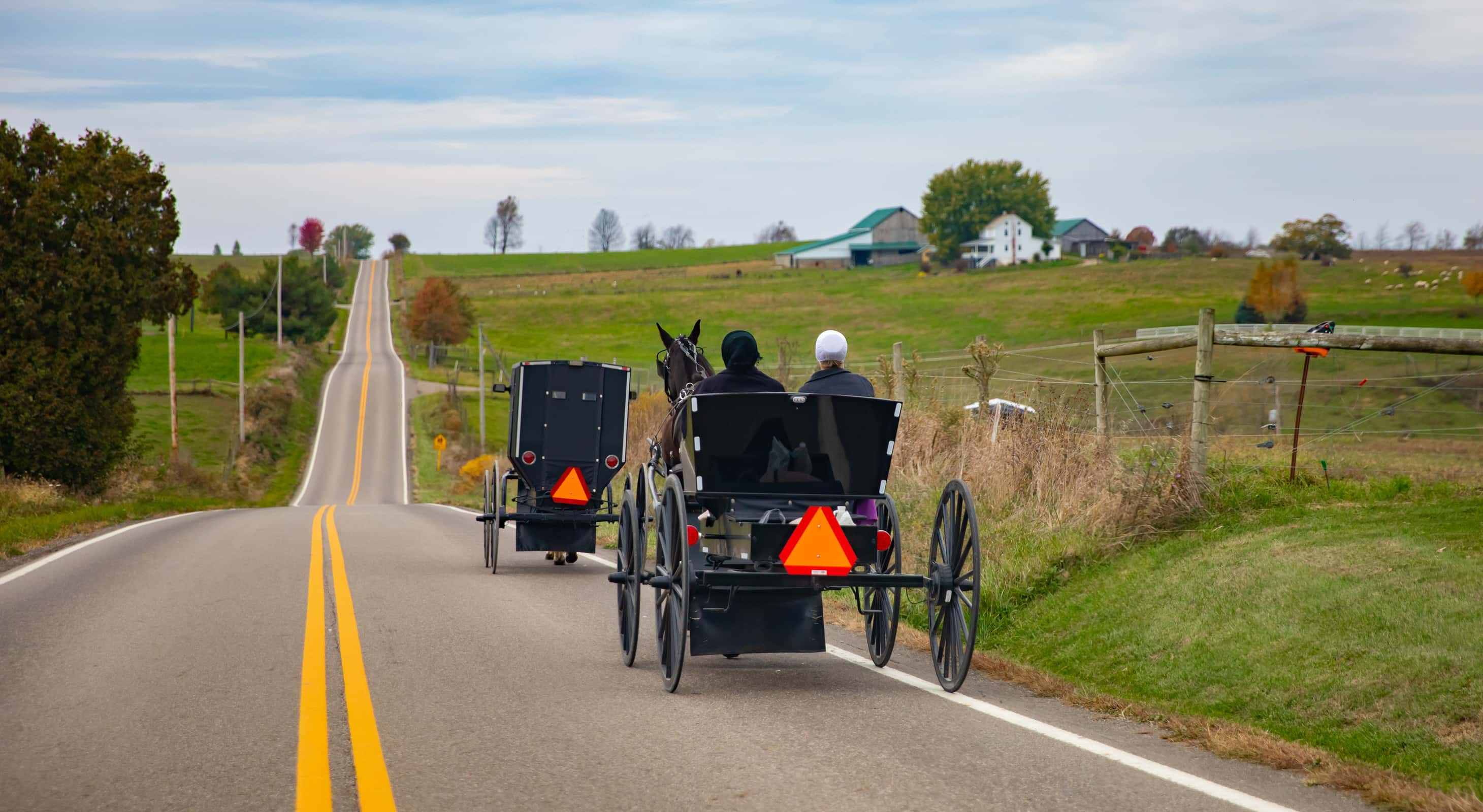 Amish horse and buggy on an Ohio country road